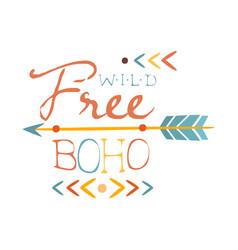 Wild and free print ethnic boho style element vector