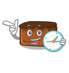 With clock brownies character cartoon style vector