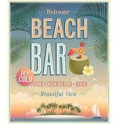 beach bar sunset vector image vector image