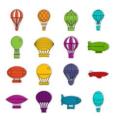 retro balloons aircraft icons doodle set vector image vector image
