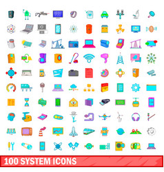 100 system icons set cartoon style vector image vector image