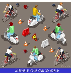 Isometric flat 3d vehicle scooter bicycle set vector