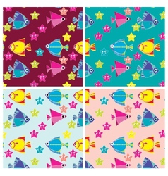 pattern of marine fish and sea stars vector image