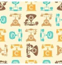 seamless pattern with vintage phone in vector image