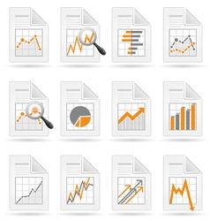Statistics and analytics file icons vector image vector image