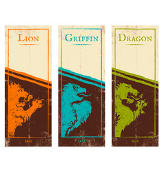 vintage colorful banners for games vector image