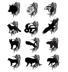 animals tattoo vector image vector image