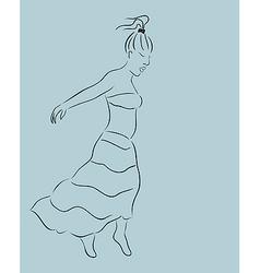 beautiful girl in skirt sketch - vector image