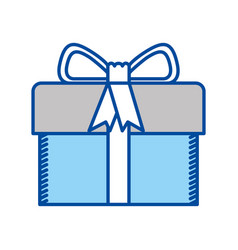 blue contour of gift box with decorative ribbon vector image vector image