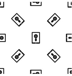 idea lamp on gadget screen pattern seamless black vector image vector image