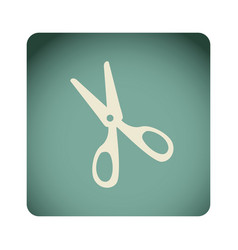 blue emblem scissors icon vector image