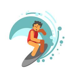 boy on surfing board under wave vector image