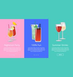 Nightclub party 100 fun summer drinks cocktails vector