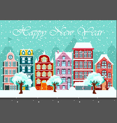 snowy night in cozy town city panorama cityscape vector image vector image