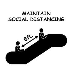 1259 maintain social distancing escalator 6ft vector