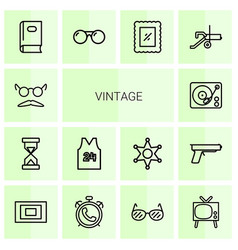 14 vintage icons vector