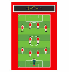 4-2-4 soccer formation with man player in pitch vector