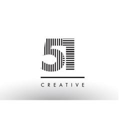 51 black and white lines number logo design vector