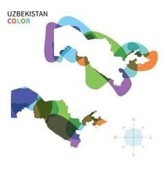 abstract color map uzbekistan vector image