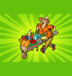 autumn harvest farmer man with a wooden vector image