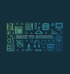 back to school colored concept linear vector image