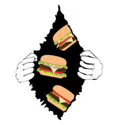 big tasty burger and hands vector image