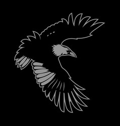 Bird logo black raven in flight with outstretched vector