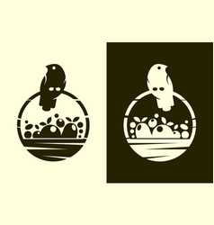 Bird with full harvest basket cut out icon vector