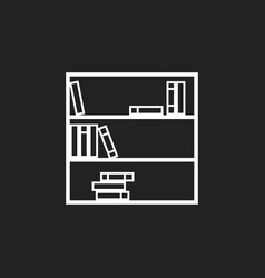 bookcase furniture icon office book on black vector image
