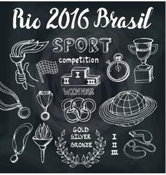 BrasilRio 2016Sport doodlesWinner set vector image