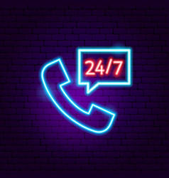 call 24 7 neon sign vector image