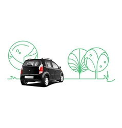car and trees vector image