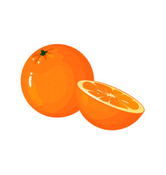 cartoon fresh orange isolated on white background vector image