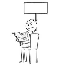 cartoon of annoyed man sitting on chair and vector image