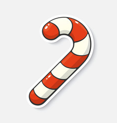 Cartoon sticker with candy cane in comic style vector