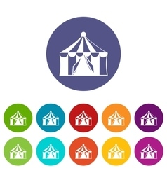 Circus tent set icons vector image