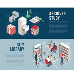 City Library Archives 2 Isometric Banners vector