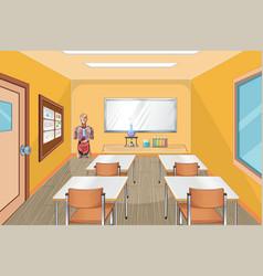 Classroom interior design with furniture vector