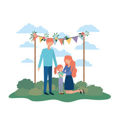 couple of parents with daughter in landscape vector image