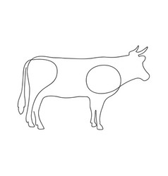 cow one continuous line drawing vector image