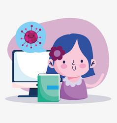 Education online student girl with book and vector