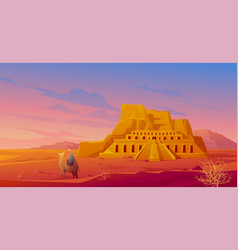 Egypt desert with hatshepsut temple and camel vector