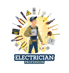 electrical service worker and electrician tools vector image
