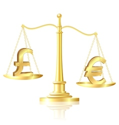 Euro outweighs pound sterling on scales vector image