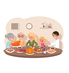 Family friends eat meal pie turkey pumpkin vector