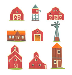 Farm buildings and constructions set countryside vector