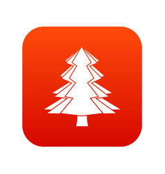 Fir tree icon digital red vector