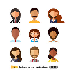 Flat icons users avatars office business vector