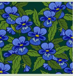 Flowers pansies seamless vector