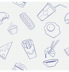 Food and Drink Hand Drawn Seamless Pattern vector image